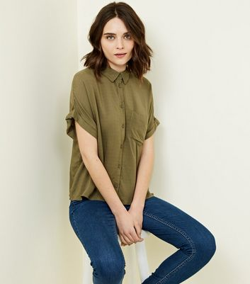 Khaki Rolled Sleeve Cropped Shirt
