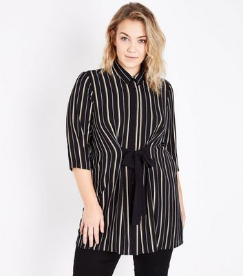 Curves Yellow Stripe Tie Front Longline Shirt