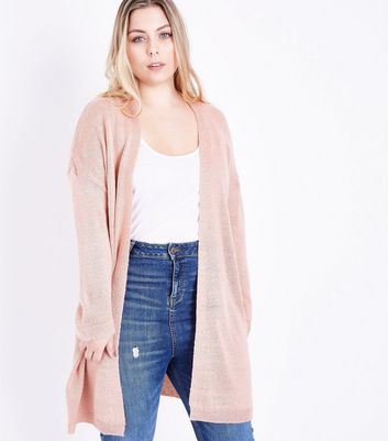 Curves Pink Brushed Knit Longline Cardigan