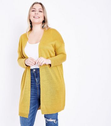 Curves Yellow Brushed Knit Longline Cardigan