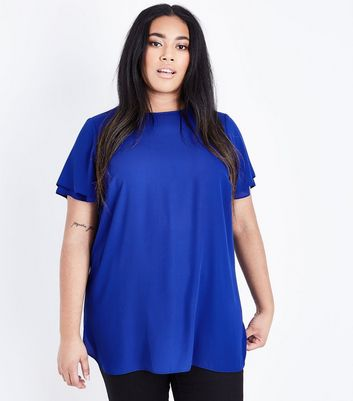 Curves Bright Blue Tiered Sleeve Top