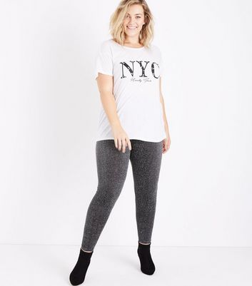 Curves Silver Glitter High Waist Leggings