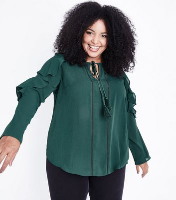 Curves Dark Green Tassel Tie Neck Frill Sleeve Blouse