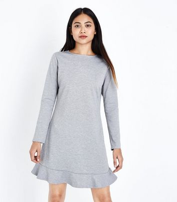 Petite Grey Frill Hem Long Sleeve Dress