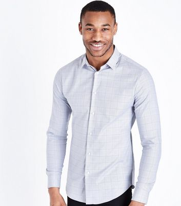 Light Grey Prince Of Wales Check Shirt
