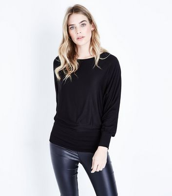 QED Black Oversized Hem Top