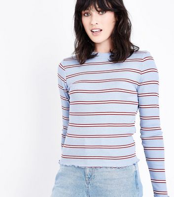Blue Stripe Long Sleeve Ribbed T-Shirt