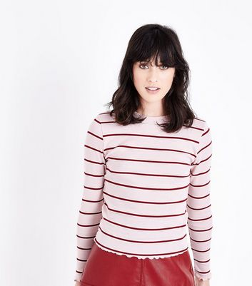 Pink Stripe Long Sleeve Ribbed T-Shirt