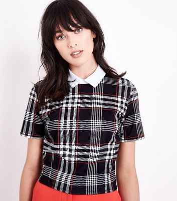 Black and Red Check Collared Crop Top