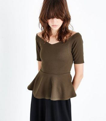 Khaki Sweetheart Neck Peplum Hem Top