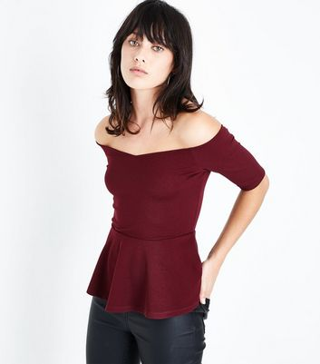 Burgundy Sweetheart Neck Peplum Hem Top