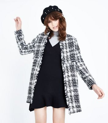 Black Check Boucle Cocoon Coat