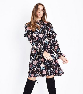 Influence Black Floral Print Funnel Neck Dress