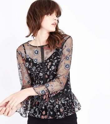 Tall Black Floral Embroidered Mesh Peplum Top
