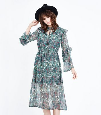 Influence Green Floral Frill Trim Midi Dress
