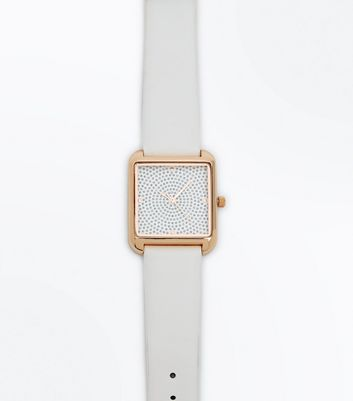 White Glitter Square Dial Watch