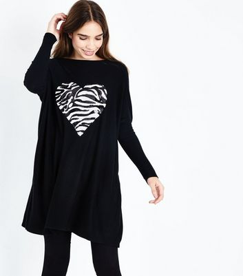 QED Black Sequin Zebra Heart Longline Top