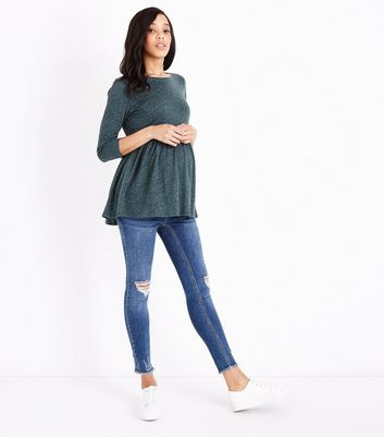 Maternity Blue Ripped Fray Hem Under Bump Skinny Jeans