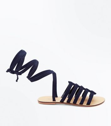Navy Suede Ankle Tie Gladiator Sandals