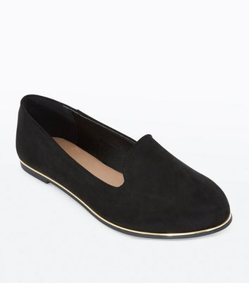 Wide Fit Black Suedette Metal Trim Loafers