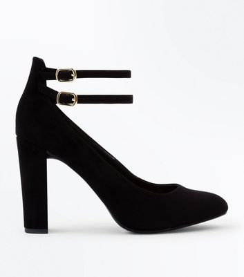 Wide Fit Black Suedette Double Ankle Strap Courts
