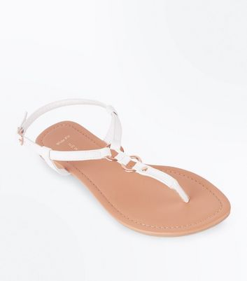 Wide Fit White Ring Strap Flat Sandals
