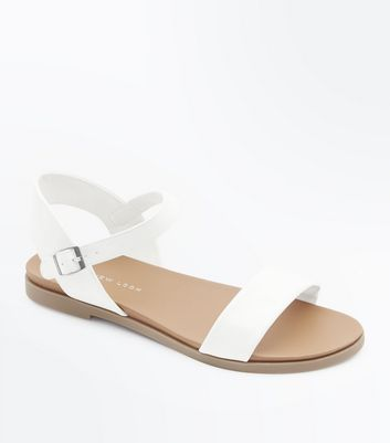 Wide Fit White Flat Sandals