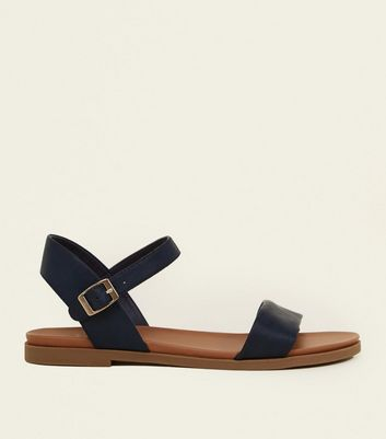 Wide Fit – Marineblaue, flache Sandalen