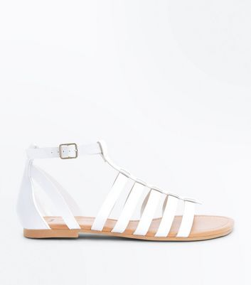 Wide Fit White Gladiator Flat Sandals