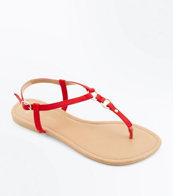 Wide Fit Red Suedette Metal Trim Sandals by New Look