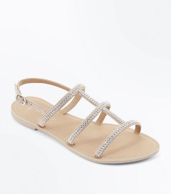 Wide Fit Nude Suede Diamante Strappy Sandals