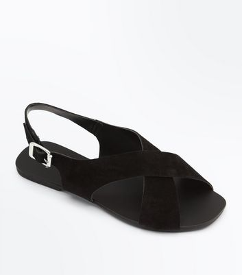Wide Fit Black Suede Cross Strap Sandals