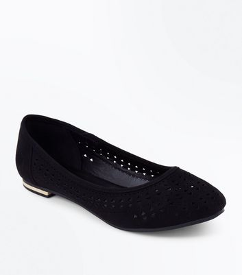 Black Laser Cut Suedette Ballerina Pumps
