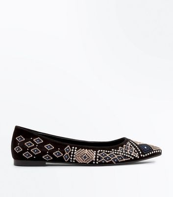Black Suedette Aztec Embroidered Pointed Pumps