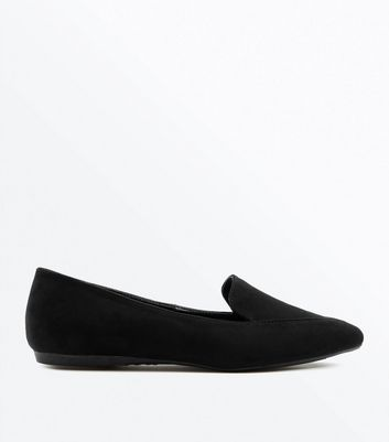 Black Suedette Pointed Loafers