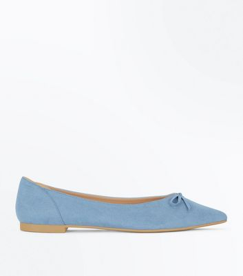 Blue Suedette Bow Front Pointed Ballet Pumps
