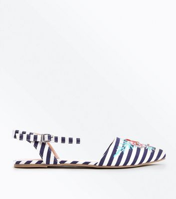 Blue Stripe Floral Embroidered Pointed Pumps