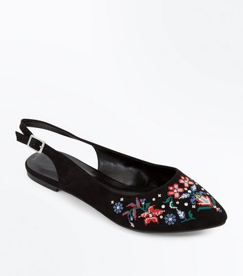 Black Suedette Floral Embroidered Sling Back Pumps