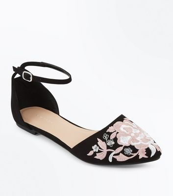Black Suedette Floral Embroidered Ankle Strap Pumps