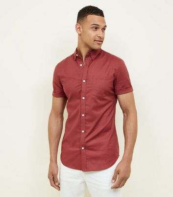 Rust Short Sleeve Muscle Fit Oxford Shirt