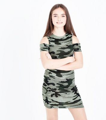 Teens Green Camo Print Cold Shoulder Dress