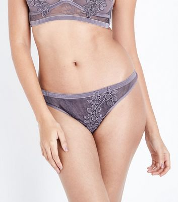 Lilac Guipure Lace Thong