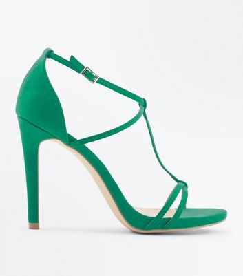 Green Suedette T-Bar Barely There Sandals