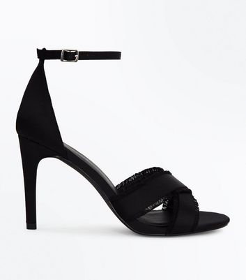 Black Satin Fray Cross Strap Stiletto Sandals
