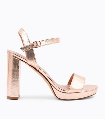 Rose Gold Metallic Block Heel Platform Sandals