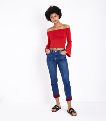 Blue Embroidered Hem Relaxed Skinny Jeans