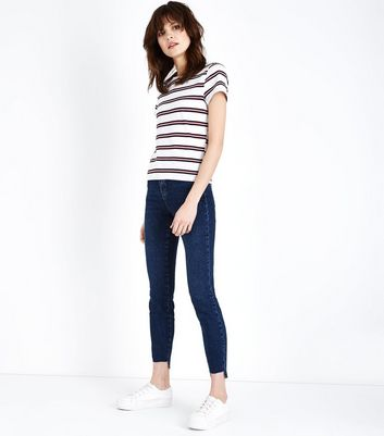 Blue Embroidered Hem Relaxed Skinny Jenna Jeans