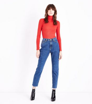 Blue Fray Hem Tori Mom Jeans