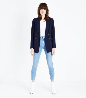 Blue High Rise Split Hem Super Skinny Dahlia Jeans