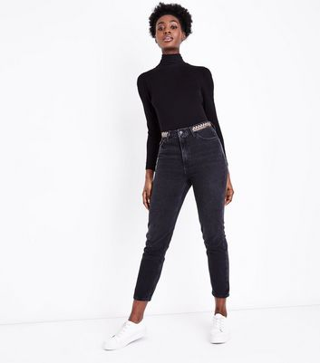 Black Embroidered Waistband Tori Mom Jeans